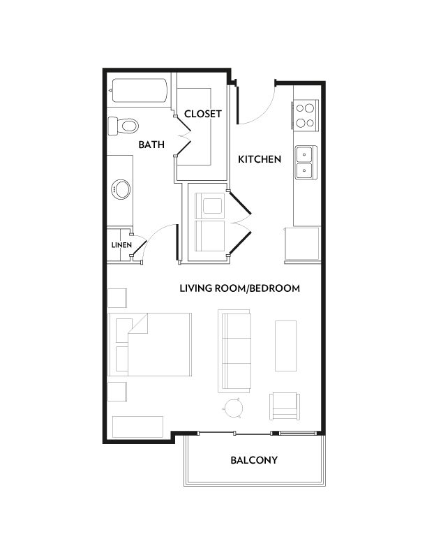 533 sq. ft. E2 floor plan