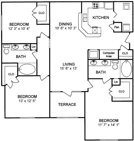 1,397 sq. ft. floor plan