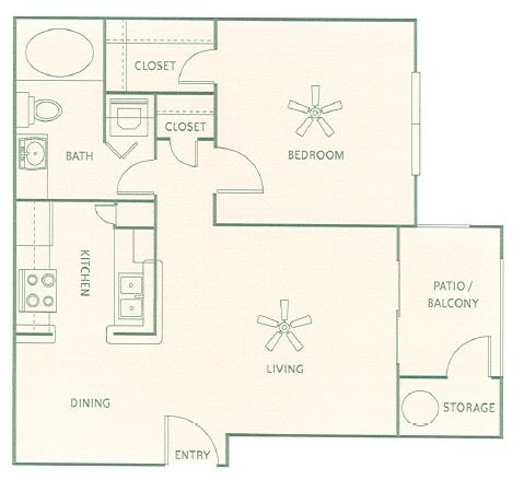 614 sq. ft. A1 floor plan