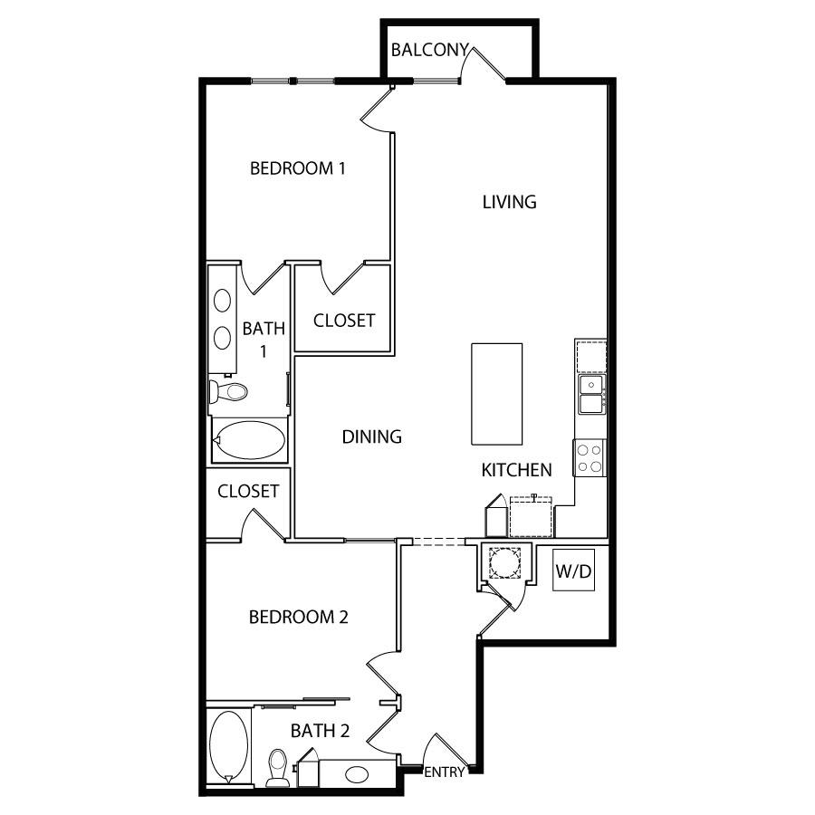 1,234 sq. ft. B5 floor plan