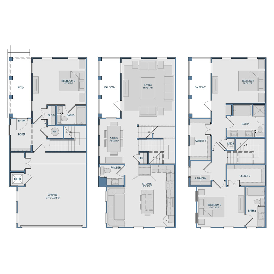 2,065 sq. ft. TH3 floor plan