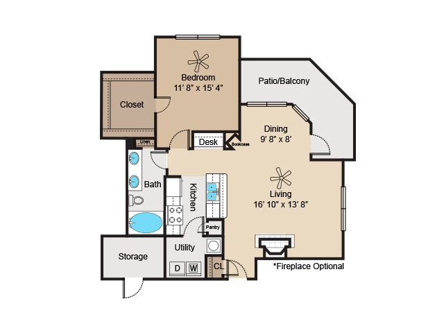 813 sq. ft. to 844 sq. ft. A3 floor plan