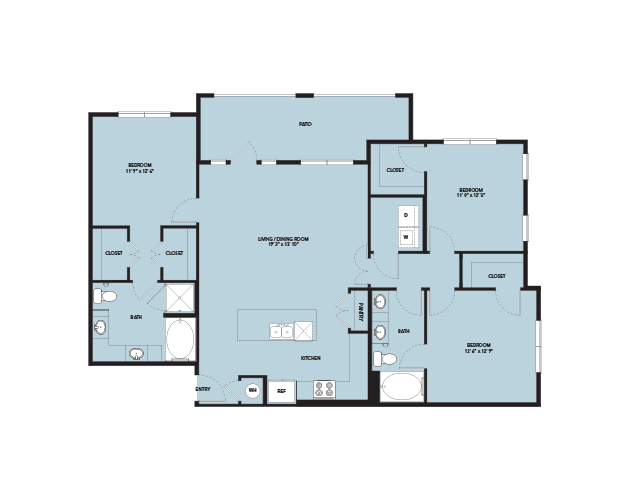 1,489 sq. ft. C1 FSC floor plan