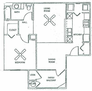 724 sq. ft. 60 floor plan