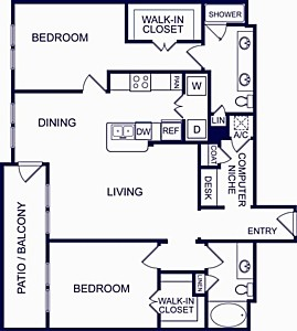 1,234 sq. ft. SEVILLE THREE floor plan