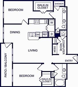 1,234 sq. ft. Seville Three floor plan