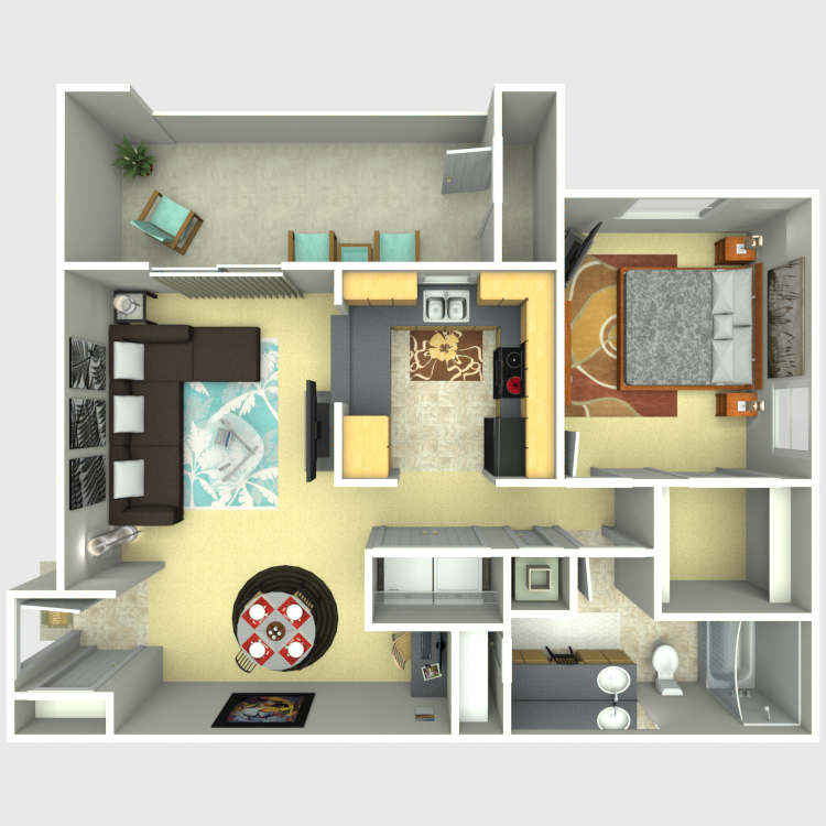787 sq. ft. Meridian floor plan