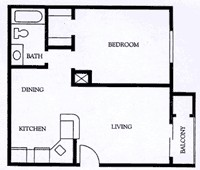 577 sq. ft. A2 floor plan