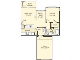 770 sq. ft. Madrid floor plan