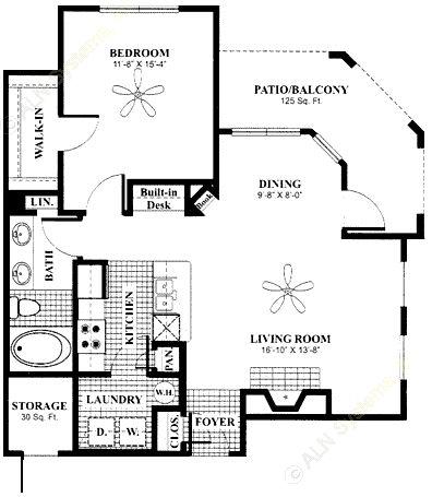 813 sq. ft. Terrace floor plan
