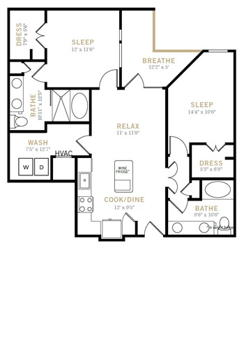 1,031 sq. ft. B2 floor plan
