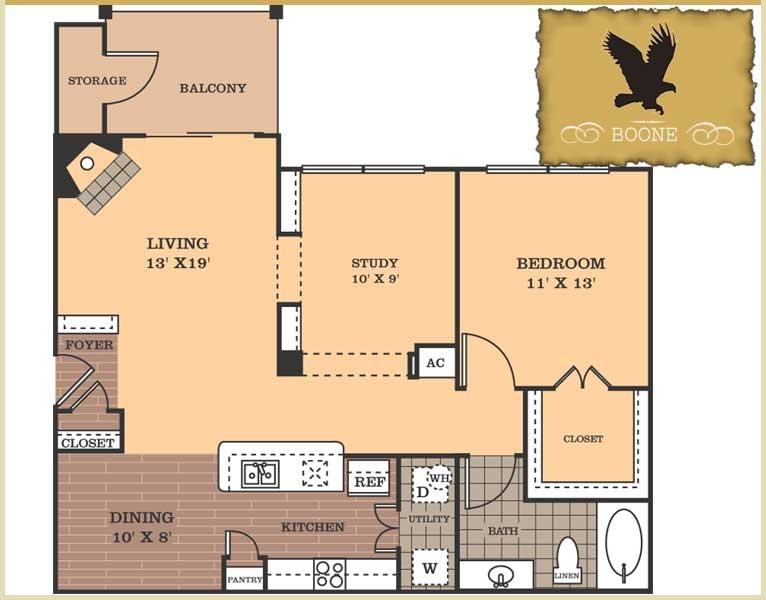 972 sq. ft. Boone floor plan