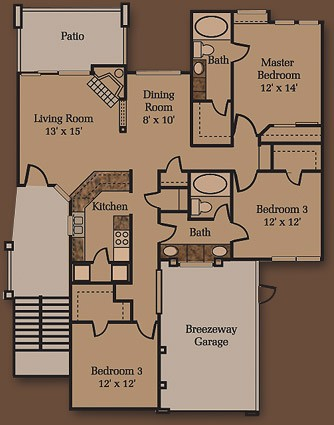 1,424 sq. ft. C1 floor plan