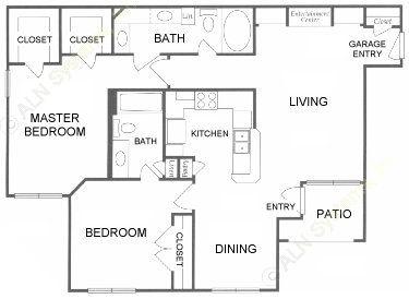 1,129 sq. ft. E floor plan