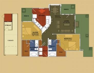 1,187 sq. ft. Walnut floor plan