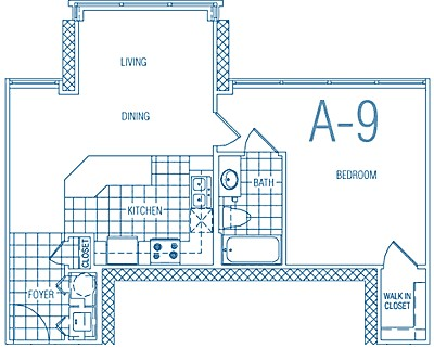 667 sq. ft. A9 60% floor plan