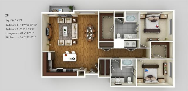 1,259 sq. ft. 2F floor plan