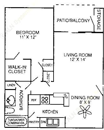632 sq. ft. A-2 floor plan