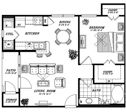 723 sq. ft. E2C floor plan