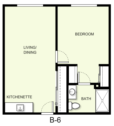 600 sq. ft. B6 floor plan