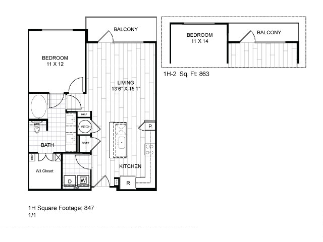 847 sq. ft. 1H floor plan