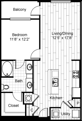 844 sq. ft. A8 floor plan