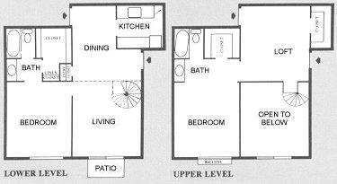 1,200 sq. ft. B4 floor plan