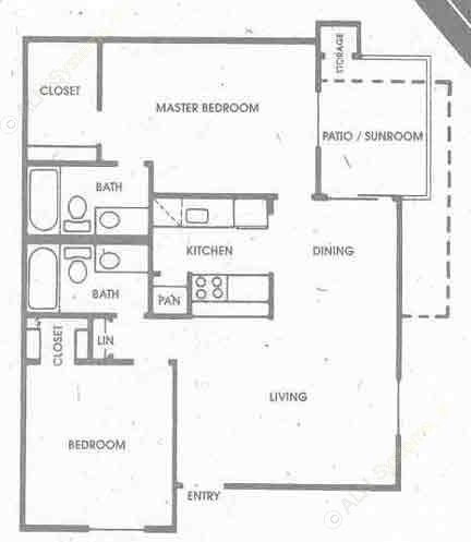 871 sq. ft. B1 floor plan