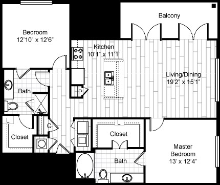 1,228 sq. ft. B11 floor plan