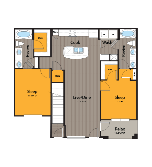 1,106 sq. ft. B4G floor plan