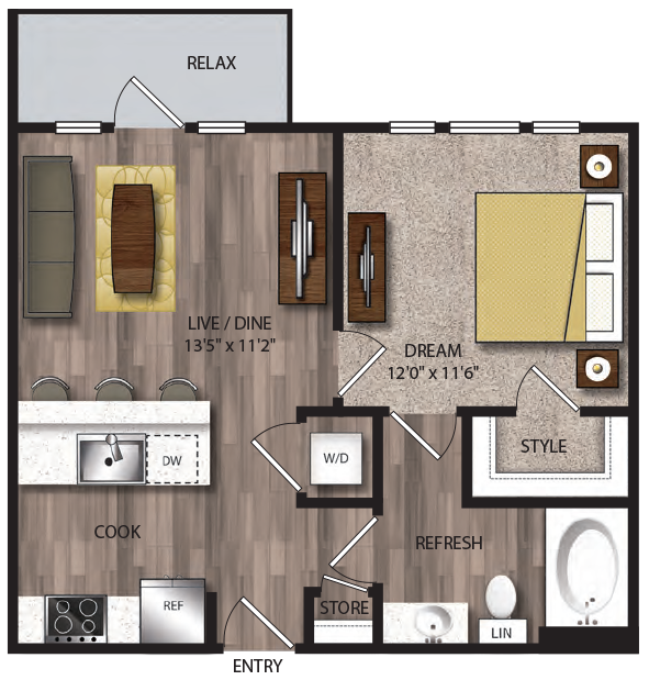 597 sq. ft. P-A1.1 floor plan