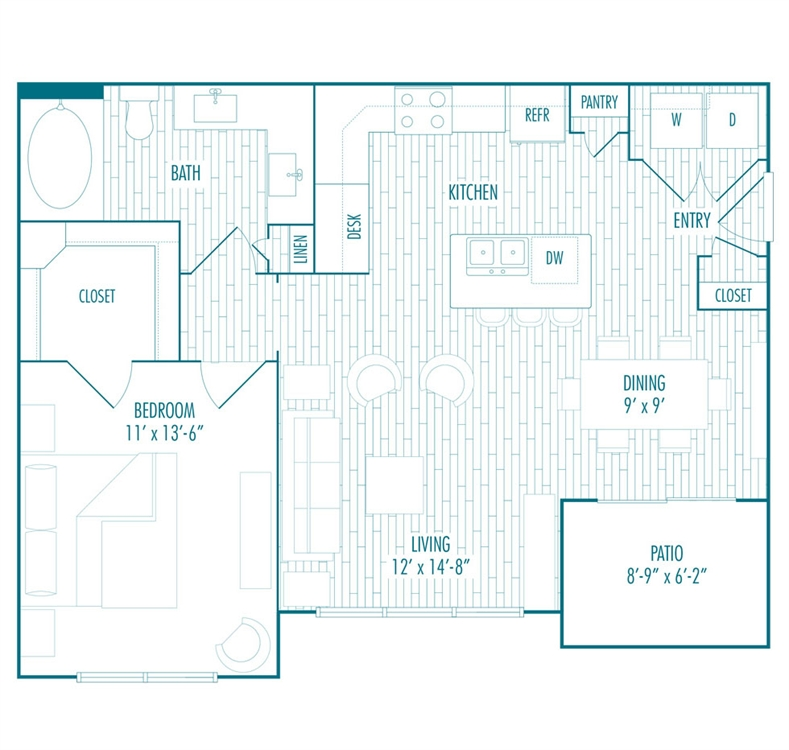 763 sq. ft. B floor plan