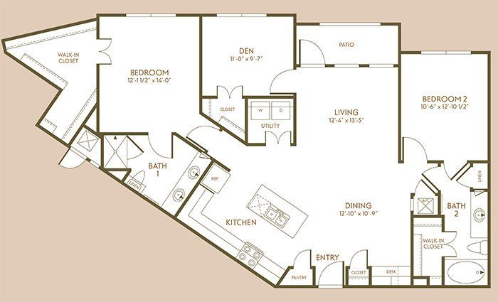 1,378 sq. ft. B5 floor plan