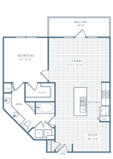 878 sq. ft. A8 Greene floor plan
