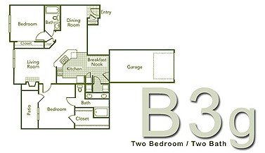 1,228 sq. ft. B3GFR floor plan