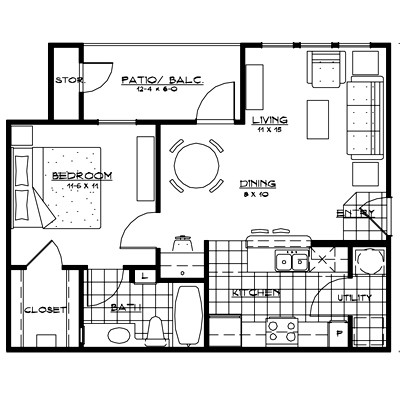 663 sq. ft. ROMA floor plan