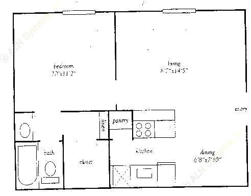 527 sq. ft. E floor plan