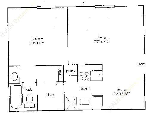 527 sq. ft. E floor plan