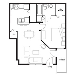 672 sq. ft. to 681 sq. ft. Designer Crtyrd 1st Level floor plan
