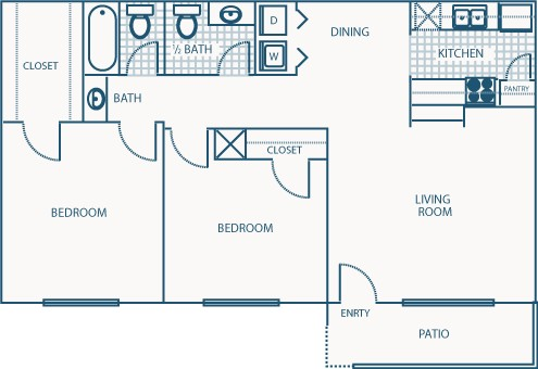 893 sq. ft. E floor plan
