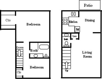 1,100 sq. ft. B-3 floor plan