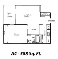 588 sq. ft. A4 floor plan
