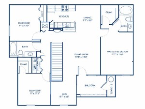 1,410 sq. ft. C1D floor plan