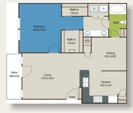 945 sq. ft. B4 floor plan