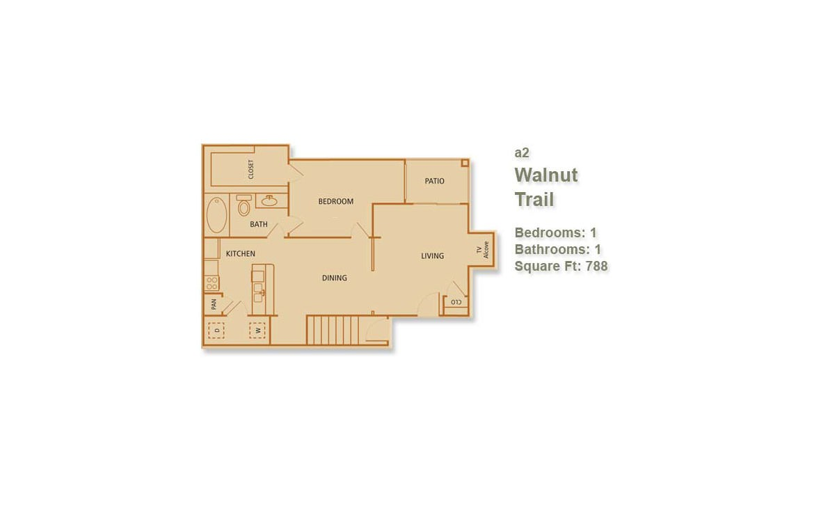 788 sq. ft. Walnut Trail floor plan