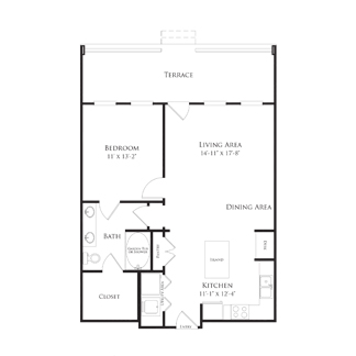 809 sq. ft. 2A5 floor plan