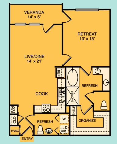 879 sq. ft. A3 floor plan