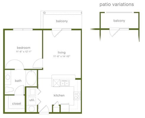 645 sq. ft. A1 floor plan