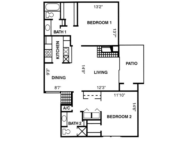 1,132 sq. ft. B3 floor plan