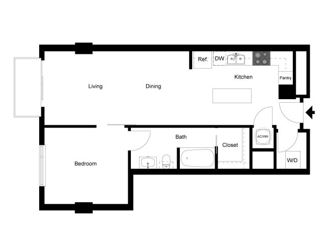 721 sq. ft. 1F floor plan